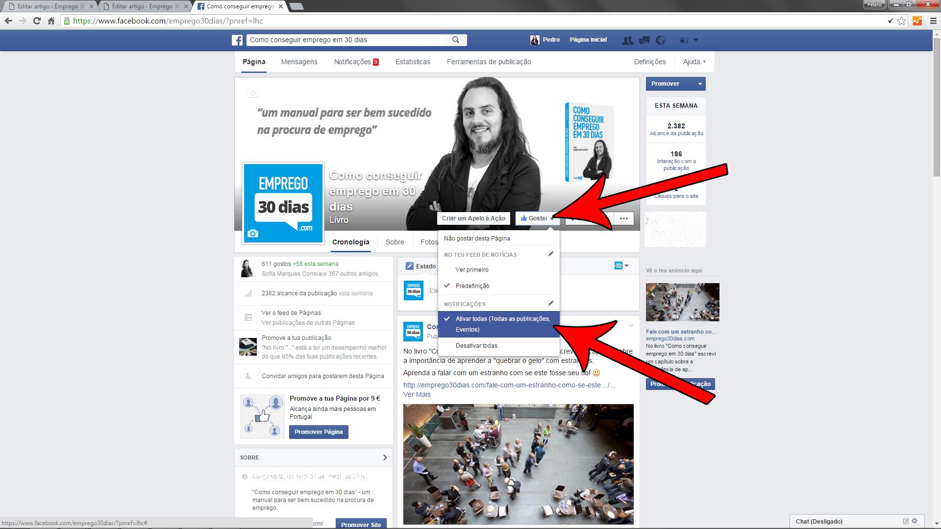 Seguir empresas no Facebook