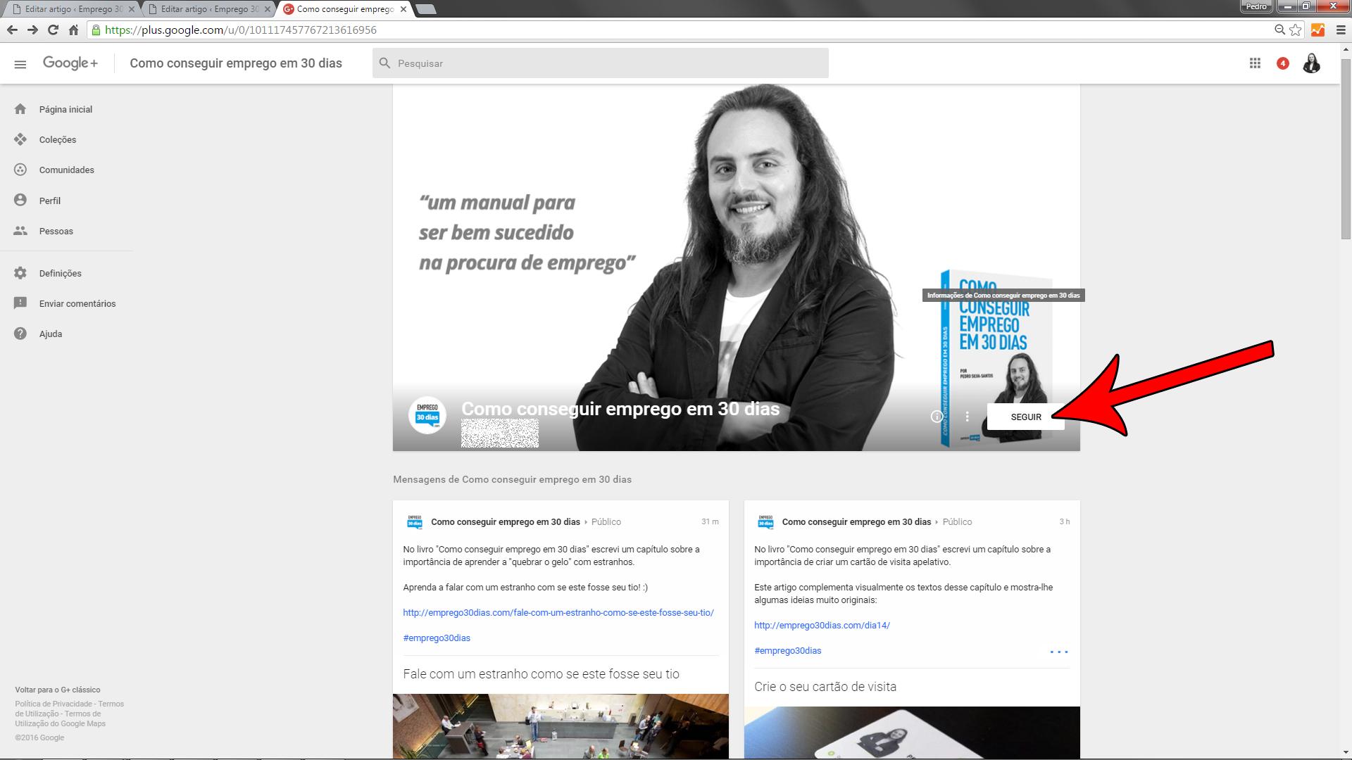 Seguir empresas no Google+