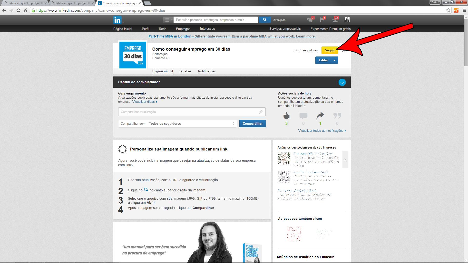 Seguir empresas no LinkedIn