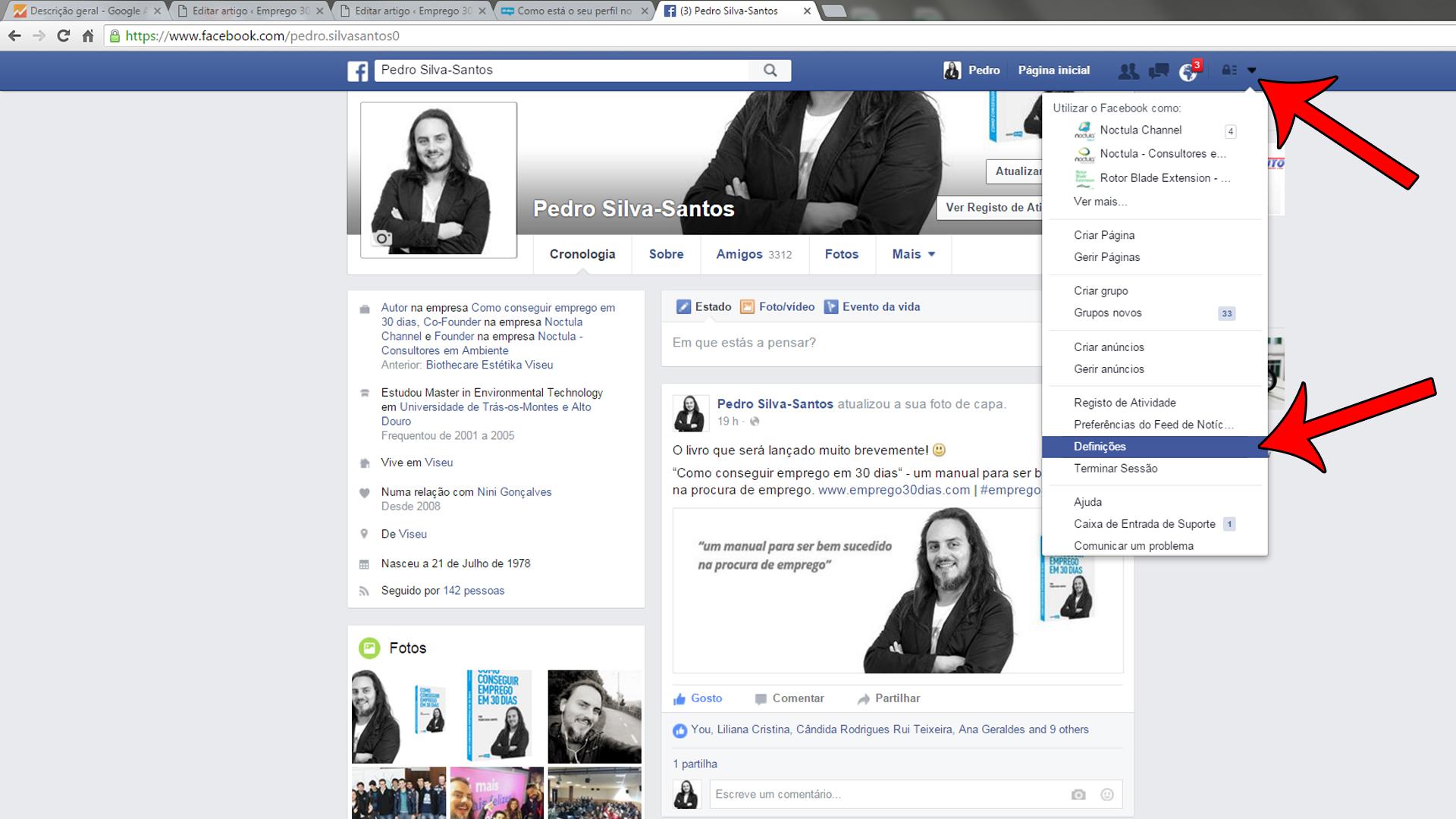 o seu perfil no Facebook-definições de privacidade